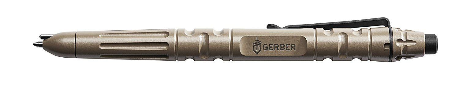 "Part of the 4 best self defense tactical pens for sale on Amazon is this earth This grey ""Gerber Impromptu""."